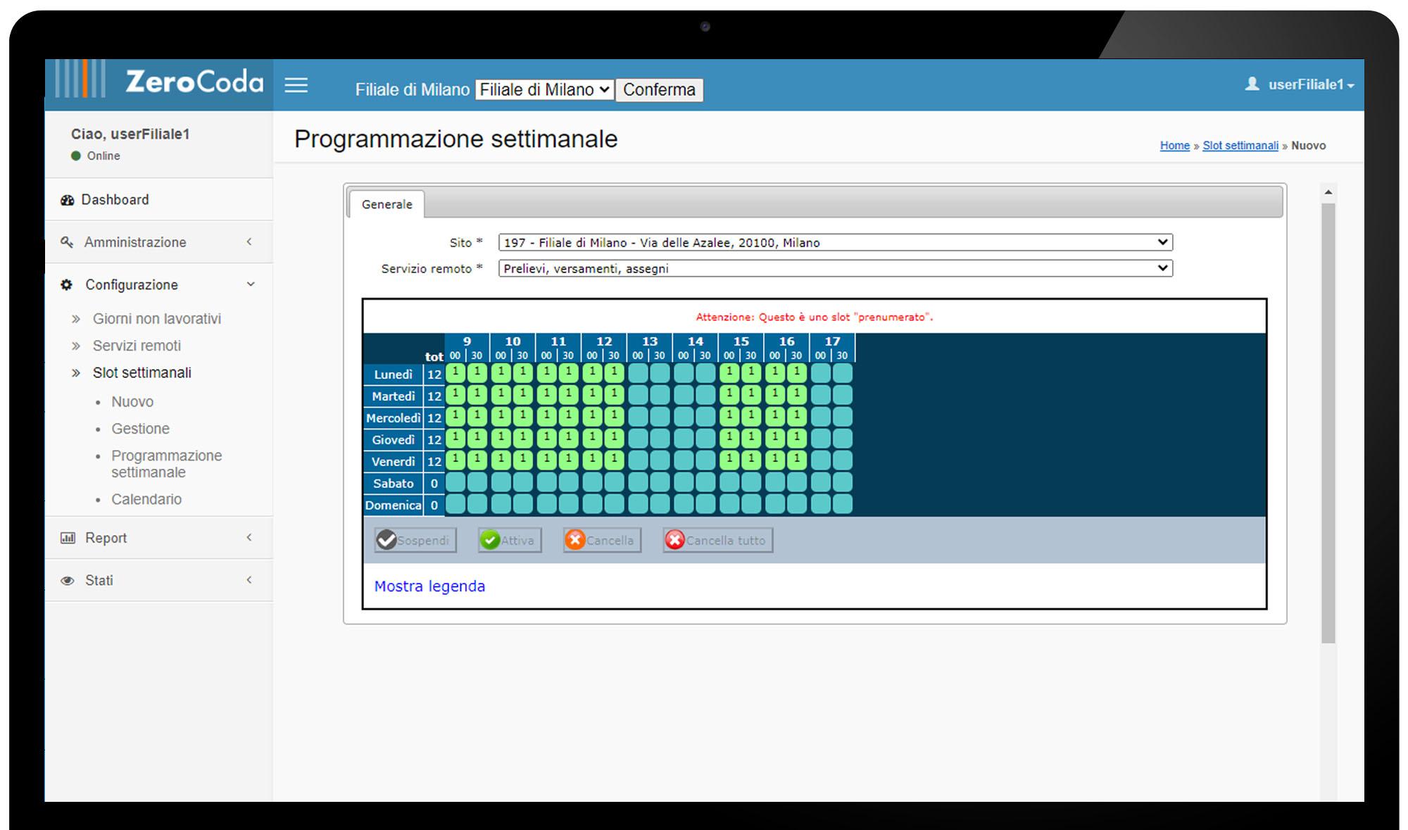 Console di Amministrazione - Programma Settimanale