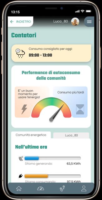 Energy community mobile app